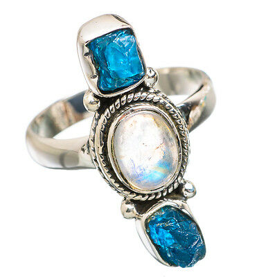 Moonstone, Apatite 925 Sterling Silver Ring Size 8 Ana Co Jewelry R837200