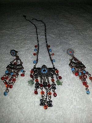 Copper and multicolored bead flower medallion necklace and earring set