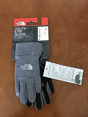 The North Face Kids Unisex Size S Youth Etip Glove Big Kids TNF Black Grey NWT