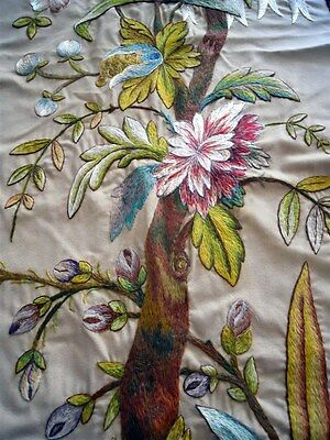 Embroidery French antique panel 19th-century floral decor
