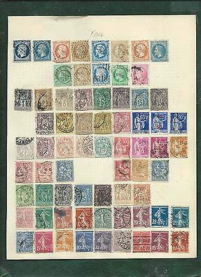 France 89 old used stamps on album pages Napoleon Ceres Peace and Commerce etc