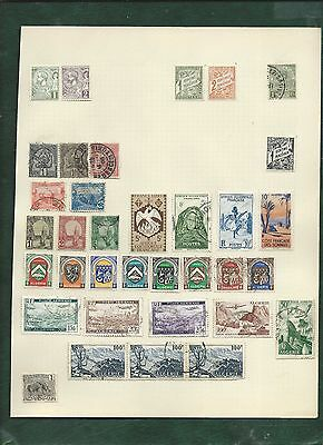 Monaco and France French colonies 88 MH and used old stamps on album pages