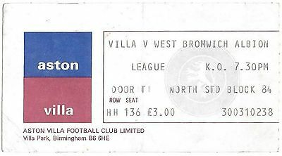 Football Ticket>ASTON VILLA v WEST BROMWICH ALBION Mar 1982