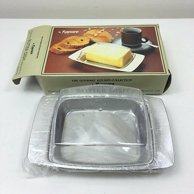 Vintage 80's Rayware Butter Dish - Stainless Steel & Plastic - Unused & Boxed