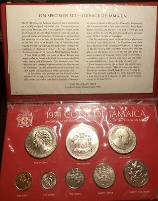 1974 Coins of Jamaica Uncirculated Specimen Set, Struck by the Franklin Mint