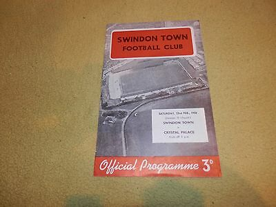 Swindon Town v Crystal Palace - Division 3 South in 1958 at County Ground