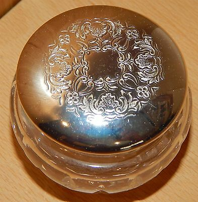 """Cut Glass Container With Silver Plated Lid From """"stuart"""" Crystal"""