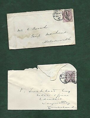 GB Great Britain Queen Victoria old used stamps on 2 covers (c)