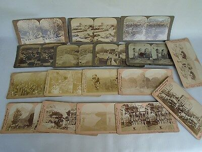 17 Superb / Very Interesting Antique Collection of Stereoscope Photograph Slides