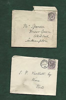 GB Great Britain Queen Victoria old used stamps on 2 covers (e)