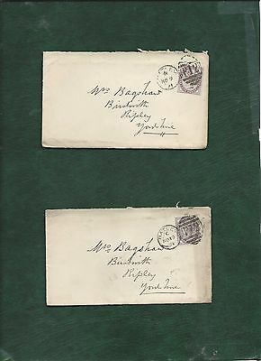 GB Great Britain Queen Victoria old used stamps on 2 covers (k)