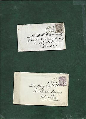 GB Great Britain Queen Victoria old used stamps on 2 covers (l)