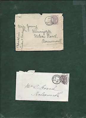 GB Great Britain Queen Victoria old used stamps on 2 covers (o)