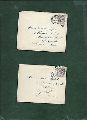 GB Great Britain Queen Victoria old used stamps on 2 covers (p)