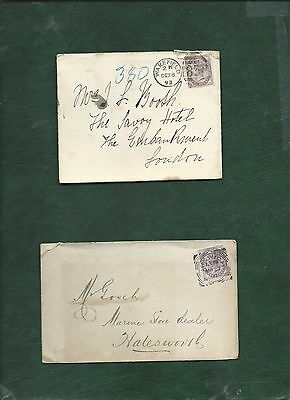 GB Great Britain Queen Victoria old used stamps on 2 covers (q)