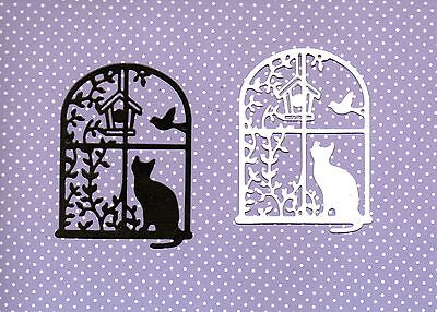 New Cat In Window  Silhouette Die Cuts   -Black / White Colour -Topper