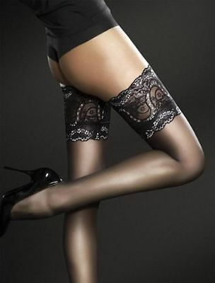 Obsession Sandrine Fiore Black Deep Lace Top Hold Ups Stay Ups Stockings 3 Sizes
