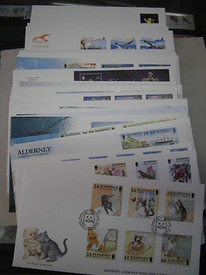 Collection, GB Alderney Guernsey, First day covers 1996-2008, 48x FDC (52028)