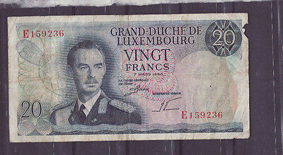 N0152   Luxembourg 20 francs Banknote heavily  used circulated