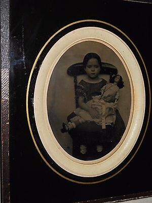Little Girl & Doll 1/2 Plate Ambrotype - Hanging