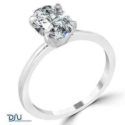 1.57 Ct Oval Cut SI1/E Diamond Engagement Ring 14K White Gold