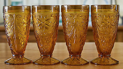 Set of 4 Amber Indiana Tiara Sandwich Glass  Ice Tea Glasses Exc Cond
