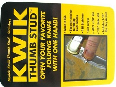 "KWIK THUMB Stainless Construction .4"" x .28"" THUMB STUD + Hex Wrench! KTS01756"