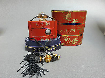 Vintage Opium  Perfume Bottle With Box And Tassel Ysl 7.5 Oz Empty