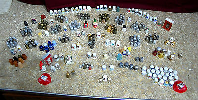 Very LARGE estate find Thimble Collection 290+ Various metals/ china/Wood LOOK!