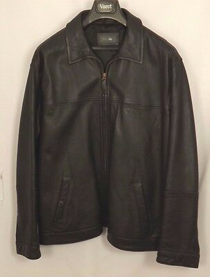 "#6415 M&S Black Leather Zip Up Bomber Jacket - Size XL (44-46"" Chest)"