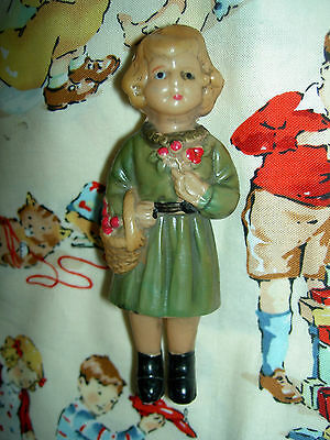 Charming, vintage or antique 1930s, celluloid little girl with basket toy rattle