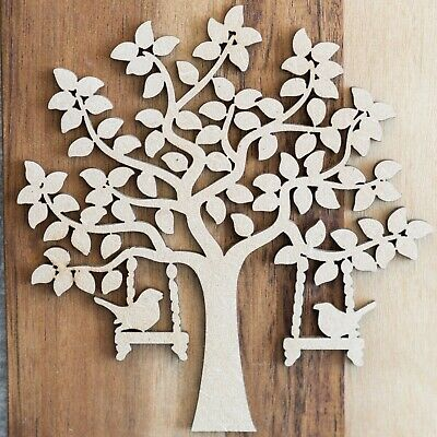 Wooden MDF Bird Tree Shape blank,Family,Wedding,Guestbook,Craft 10 FREE hearts