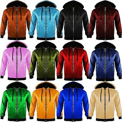 Unisex Mens Womens Light Weight Anorak Jacket Hooded Rain Coat Look ZIP Bomber