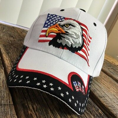 Adult USA Patriotic Flag Eagle One Size Adjustable WHITE Baseball Hat Cap NEW -F