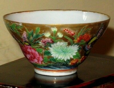 18thc gilded Chinese tea-bowl with bird, flowers and bamboo decoration