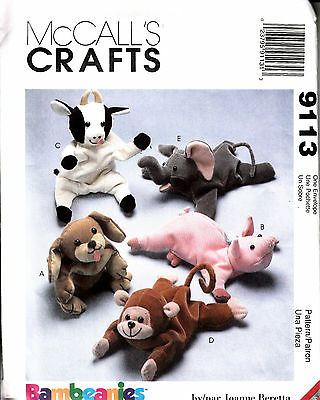 MCCALL'S CRAFTS SEWING PATTERn #9113 BEAN BAG ANIMALS BAMBEANIES COW PIG MONKEY