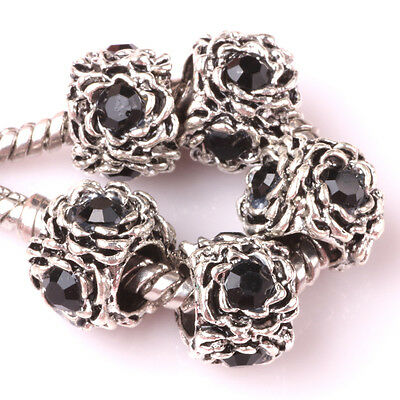 HOT 5pcs Tibetan silver Czech spacer beads fit Charm European Bracelet DIY B#87