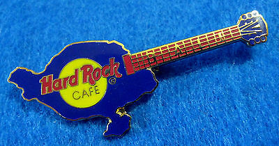 BALI INDONESIA BLUE ISLAND MAP SHAPE VINTAGE HRC GUITAR Hard Rock Cafe PIN