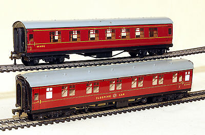 Hornby Dublo 00Gauge Tin Plate Maroon Coaches X Two