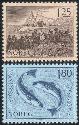 Norway 1977 Fishing Industry/Boats/Fish/Nets/Business/Commerce/Art 2v set n44869