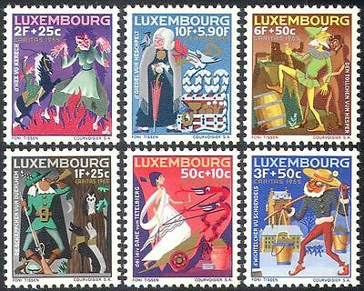Luxembourg 1965 Fairy Stories/Tales/Horse/Owl/Dogs/Witch/Welfare Fund  6v n42753