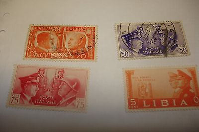 4 stamps italy ,mussolini and hitler,
