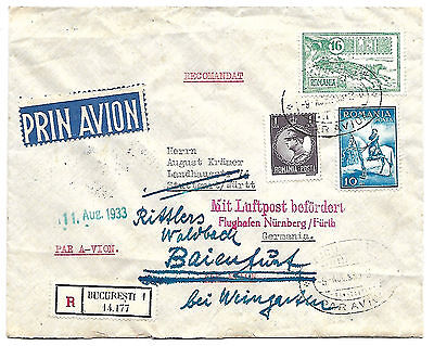 Romania 1933 air mail cover to Germany redirected