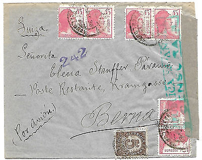 Spain 1938 Air Mail censroed cover to Bern