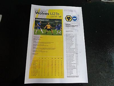 WOLVERHAMPTON WANDERERS Wolves Homes Reserves + Under 23 2016/17 £1.79 EACH
