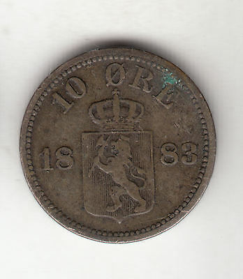 Norway Silver 10 Ore 1883 Scarce      250D                By Coinmountain