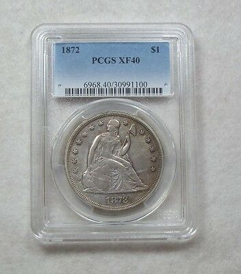 1872 Liberty Seated Dollar CERTIFIED  PCGS  XF 40 Silver $