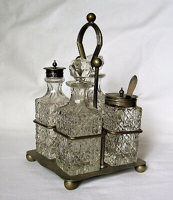 Antique/Victorian Cut Glass/Crystal 4 Piece Cruet Set, Epns Stand & Spoon.