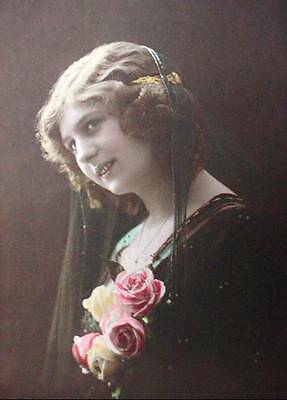 Canadian WW1 Postcard Sent Home French Beauty 1916 Colored RPPC