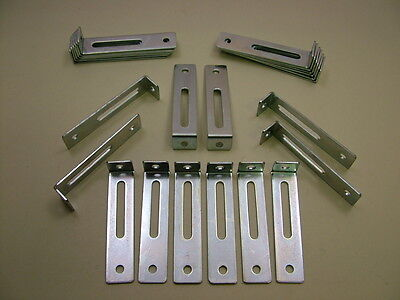 """Pack of 24 adjustable kitchen unit cabinet fixing """"L"""" brackets 76 x 18 x 15mm"""